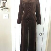 Theory Women's Two Piece Velvet Pant Suit Brown Size 46 Photo