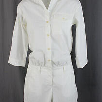 Theory Women's White 3/4 Sleeve Rolled Cuff 1/2 Button Down Romper Size 00 Photo