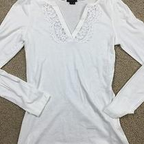 Theory Women's White v Neck Crochet Long Sleeve Knit Top Large  Photo