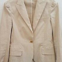 Theory Womens Beige White Stripped One Button Cotton Blazer Jacket Unlined Sz 4 Photo