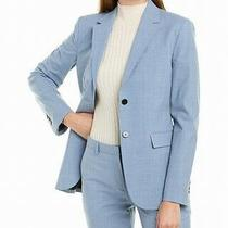 Theory Womens Blazer Periwinkle Blue Size 8 Notch Collar 2 Button Wool 595 110 Photo