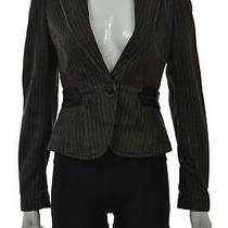 Theory Womens Blazer Size S Charcoal Gray Striped Cotton Long Sleeve Jacket Photo