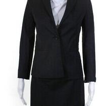 Theory Womens Blazer Straight Leg Pant Skirt Suit Set Charcoal Gray Size 2 4 Photo