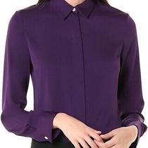 Theory Womens Blouse Purple Size P Petite Hidden Silk Button Down Shirt 325 254 Photo