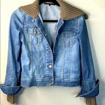 Theory Womens Blue Beige Denim Jean Button Collar Cuff Jacket Sweater Size Petit Photo