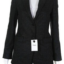 Theory Womens Button Down Classic Blazer Jacket Gray Wool Blend Size 2 Photo
