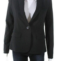 Theory Womens Button Up Collared Wool Blazer Jacket Top Black Size 2 Photo