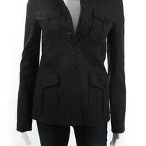 Theory Womens Button Up Collared Wool Blazer Jacket Top Gray Size Xs Photo