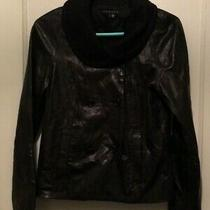 Theory Womens Double Breasted Black  Lamb Leather Jacket With Wool Collar Size S Photo