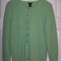 Theory Womens Green 100% Cashmere Cable Knit Cardigan Sweater L Photo