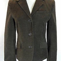 Theory Womens Jacket Blazer Stretch Cotton Velvet Fitted Career Brown 34