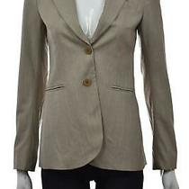 Theory Womens Jacket Size 0 Beige Gray Blazer Long Sleeve Wool Wear to Work Photo