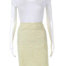 Theory Womens Knee Length Floral Straight Skirt Yellow White Gray Size 2 Photo
