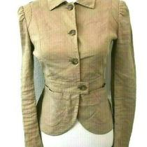 Theory Womens Lightweight Beige Linen Fitted Career Blazer Jacket Size 2 Photo
