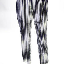 Theory Womens Linen Vertical Stripe Slim Trousers Pants Black Size Small Photo