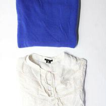 Theory Womens Long Sleeve Boat Neck Sweater Shirt Blue White Small Petite Lot 2 Photo