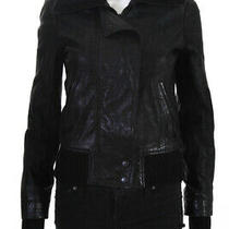 Theory Womens Long Sleeve Solid Print Zip Up Bomber Jacket Black Leather Size S Photo