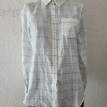 Theory Womens Medium White Blue Plaid Long Sleeve Button Up Shirt Photo