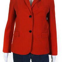 Theory Womens Opal Shrunken Blazer Fire Orange Cotton Size 8 12016638 Photo