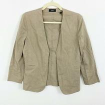 Theory Womens Open Front Blazer Jacket Top Beige Size 4 Linen Blend Lightweight Photo
