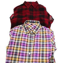 Theory  Womens Plaid Print Top Red Purple Size Extra Small Lot 2 Photo