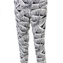 Theory Womens Printed Mid-Rise Straight Leg Pants Trousers White Silk Size Small Photo
