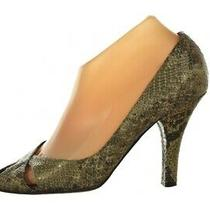 Theory Womens Shoes Size 37.5 7 Brown Gold Animal Print Pumps Leather Heels Photo
