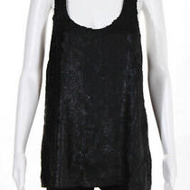 Theory Womens Silk Sequined Scoop Neck Tank Top Black Size Medium Photo
