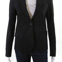 Theory Womens Single Button Pointed Lapel Single Vent Blazer Black Wool Size 4 Photo