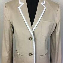 Theory Womens Sz 10 Nillian W Cotton Stretch Jacket Career Blazer Khaki Beige  Photo