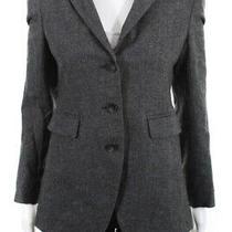 Theory Womens Three Button Notched Lapel Blazer Jacket Gray Wool Size 6 Photo