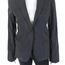 Theory Womens Unlined One Button Blazer Gray Wool Size Medium Photo