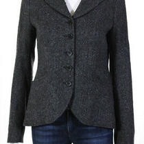 Theory Womens Wool Long Sleeve Notched Collar Button Down Blazer Gray Size 4 Photo