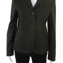 Theory  Womens Wool Pinstripe Three Button Blazer Dark Green Size 10 Photo