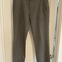 Theory Wool Dress Pants Size 32 Mens Gray Patterned Flat Front Trousers Photo