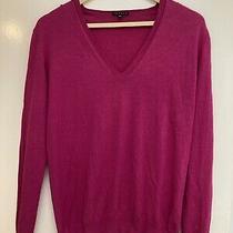 Theory Wool & Spun Silk Fuchsia v Neck Lightweight Jumper Sweater - Medium Photo