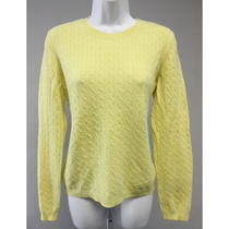 Theory Yellow Cable Knit Cashmere Long Sleeve Crew Neck Sweater Size L Photo