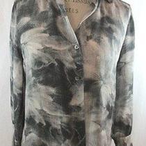 Theory Yisenia Tufts Shirt Size Med Silk Long Sleeve Photo