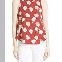 Theory Zabetha Red Floral Silk Shirt Blouse Size Large Photo