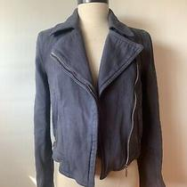 Theyskens Theory Jacket Coat Moto Indigo Blue Size Xs or Small Womens Petite Photo