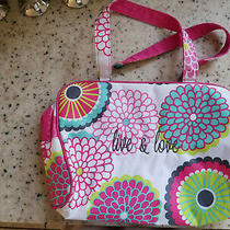 Thirty-One Medium Utility Tote Lunch Beach Bag Vinyl Lined Hot Pink Bubble Bloom Photo