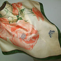 Thomas Campbell. Elizabeth of Glamis. Fabulous Roses Design Vintage Silk Scarf Photo