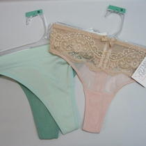 Thong Panties 3 Pair Lot Pink Cool Mint Aqua Sexy Womens S 4-6 Gilligan Omalley Photo