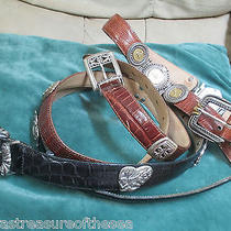 Three Brighton Leather Museum or Other Silver Design Belts M Size Lizard Croco Photo
