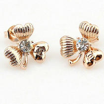 Three-Leaf Clover Earrings for Lady Women Girls 14k Plated Rosegold Photo