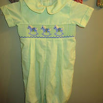Three Sisters  Boys Smocked Rocking Horses Lime Green Size 18 Months Photo