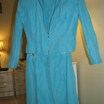 Three Things Aqua Skirt Suit 5/6 Size Photo