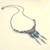 Tibetan Silver Turquoise Statement Necklace -Jewellery Vintage-Feather Leaf Boho Photo