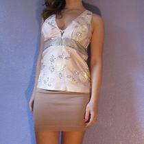 Tibi Embellished Blush Pink Roses Sequins Double v Silk Dress Top 4 S Beautiful Photo