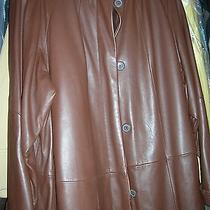 Tiboa Thermal Insulation Brown Butter Soft Lamb Leather Swing Coat  Msrp-895 Photo